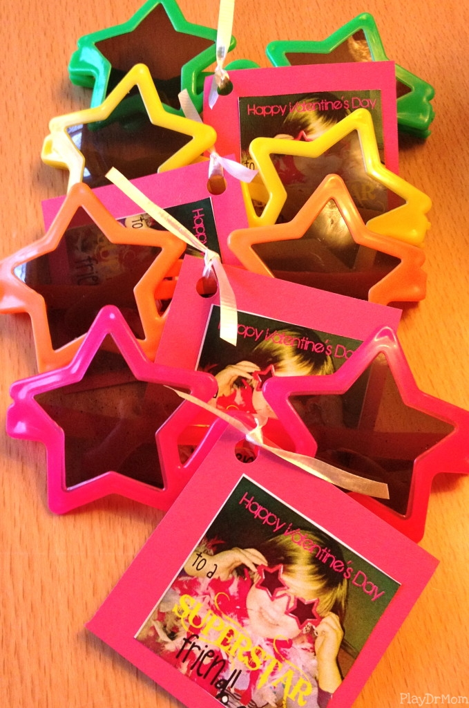 a rainbow of star valentines
