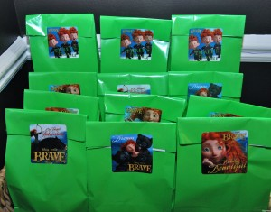 favor bags for a Brave party