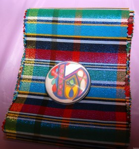 Plaid Sash and Personalized Brooch