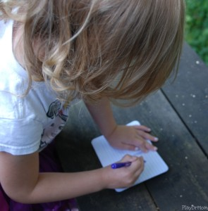 Writing in her Observation Journal