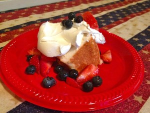 Red, White, & Blue Angel Cake dessert ... one of PlayDrMom's favorite 4th of July treats!