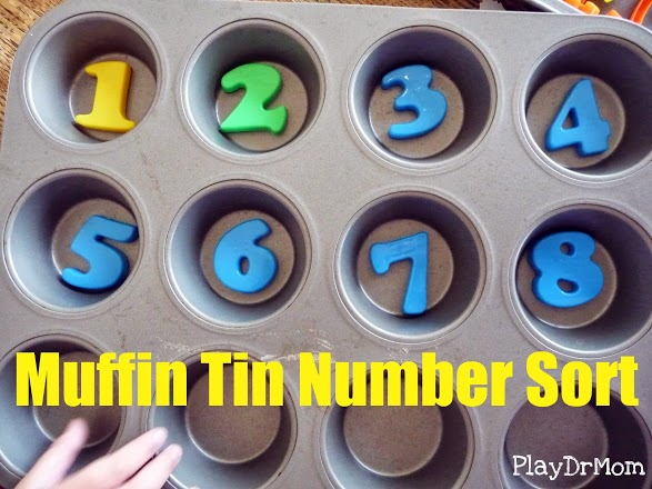PlayDrMom's Muffin Tin Number Sort.  A fun way to learn number recognition.