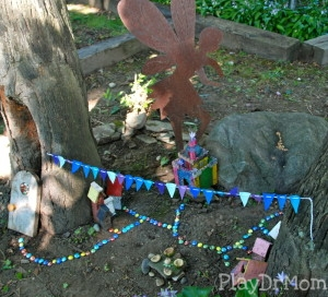 PlayDrMom's simple backyard magical fairy village garden.