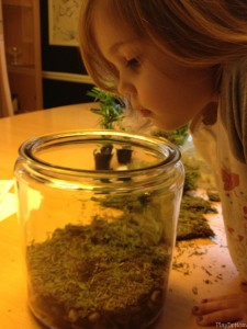 Honor checks out the starting layers in the fairy terrarium