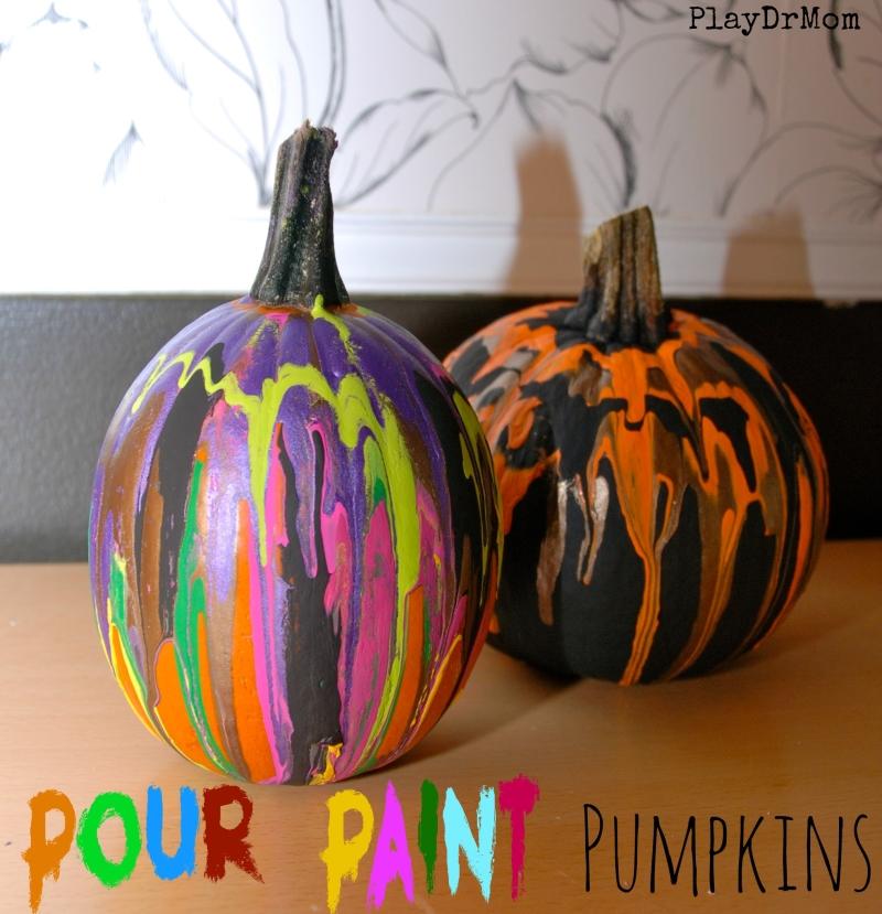 PlayDrMom's pour paint pumpkins