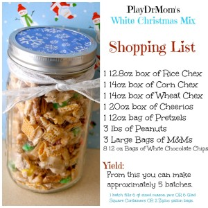 PlayDrMom's white christmas mix shopping list