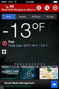 feels like 35 below