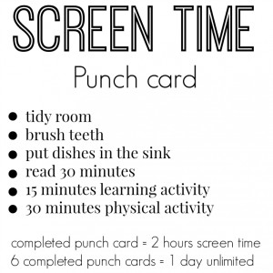 screen time punch card
