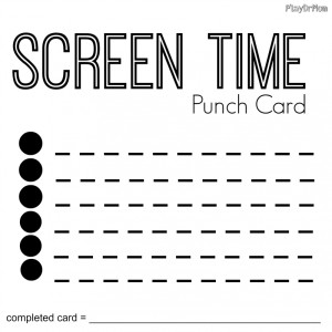 screen time punch card blank