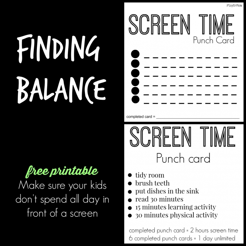 screen time punch card FREE PRINTABLE