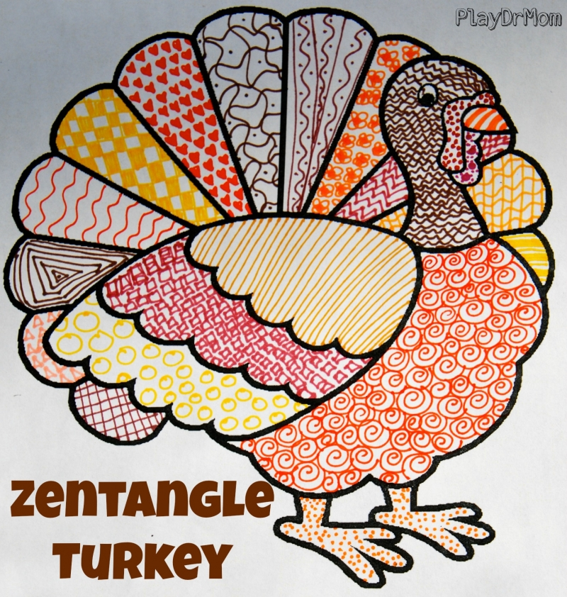 make a zentangle turkey