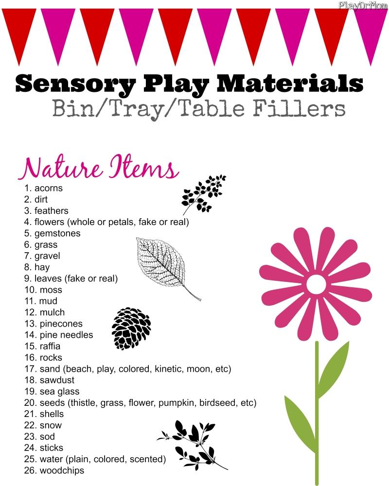 sensory play materials - natural