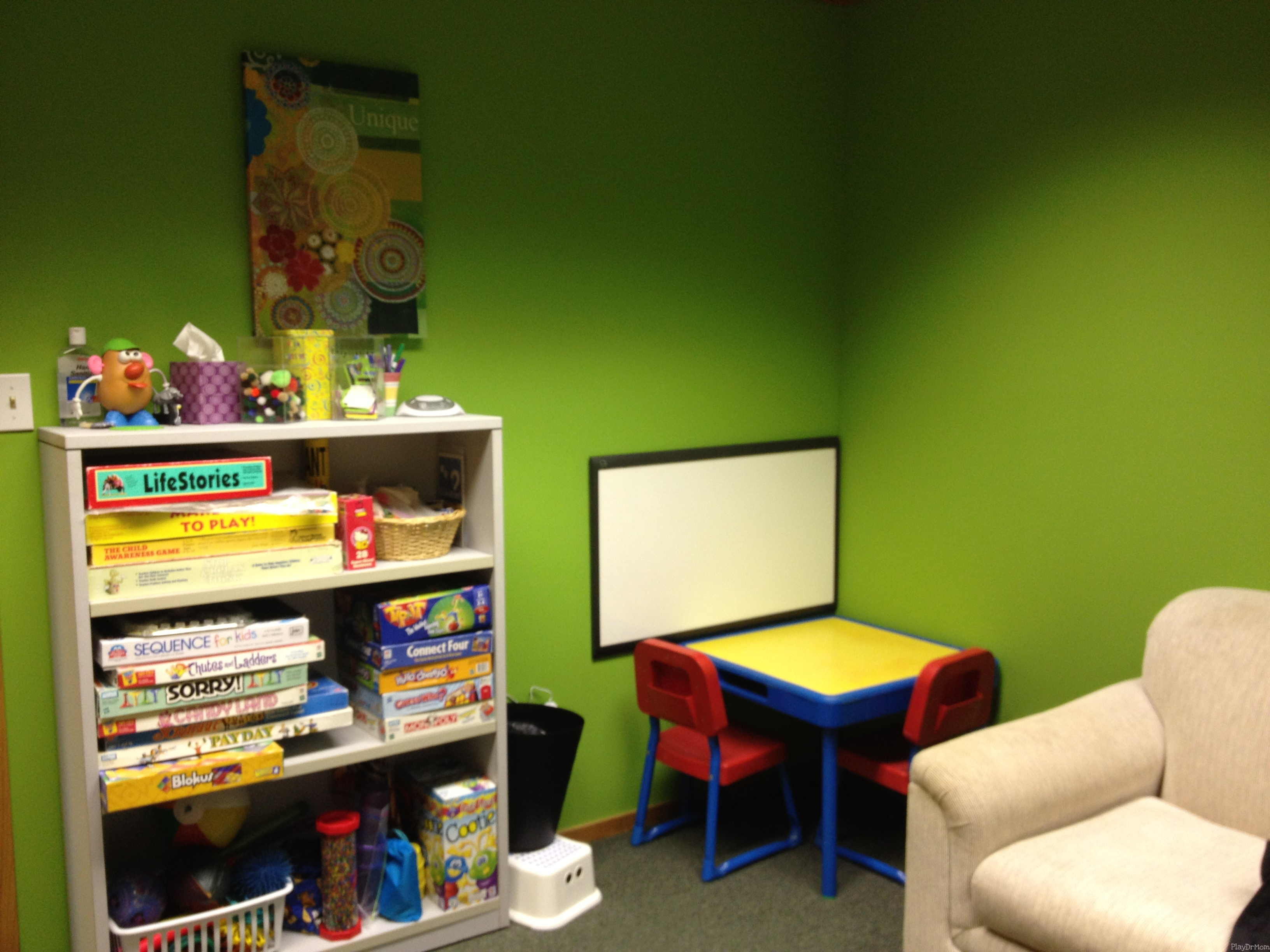 What a play therapy room looks like new office play dr mom for Room and board kids table